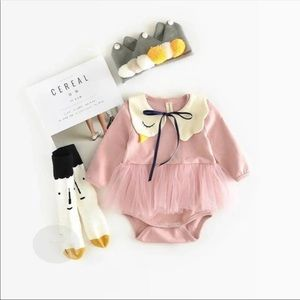 Baby Girl Swan Romper - Pink